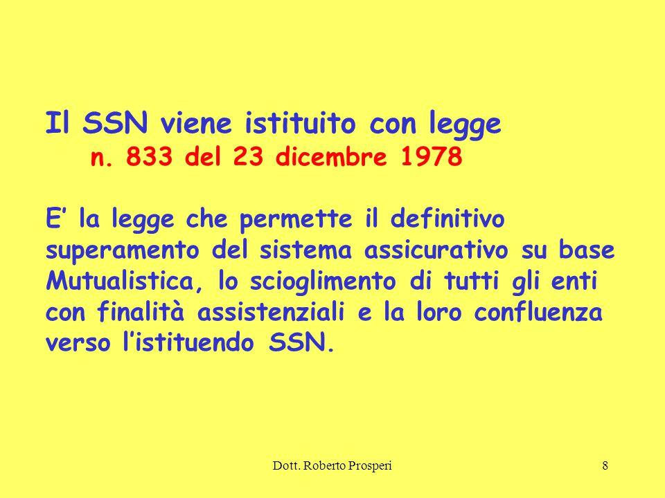 Dott.Roberto Prosperi8 Il SSN viene istituito con legge n.