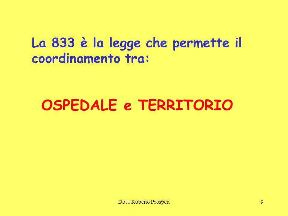 Dott. Roberto Prosperi9 La 833 è la legge che permette il coordinamento tra: OSPEDALE e TERRITORIO