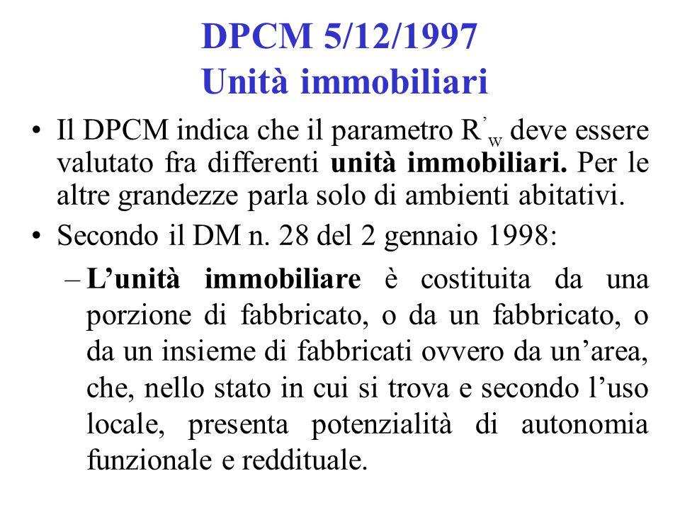 DPCM 5/12/1997 Unità immobiliari Il DPCM indica che il parametro R ' w deve essere valutato fra differenti unità immobiliari. Per le altre grandezze p