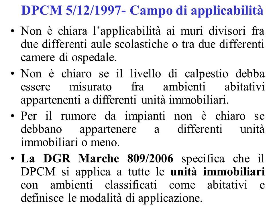 DPCM 5/12/1997- Campo di applicabilità Non è chiara l'applicabilità ai muri divisori fra due differenti aule scolastiche o tra due differenti camere di ospedale.