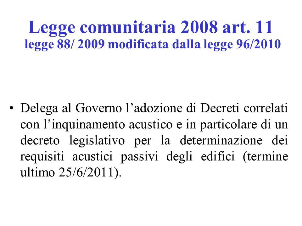 Legge comunitaria 2008 art. 11 legge 88/ 2009 modificata dalla legge 96/2010 Delega al Governo l'adozione di Decreti correlati con l'inquinamento acus