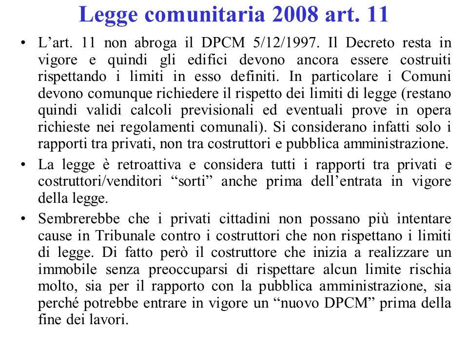 Legge comunitaria 2008 art. 11 L'art. 11 non abroga il DPCM 5/12/1997. Il Decreto resta in vigore e quindi gli edifici devono ancora essere costruiti