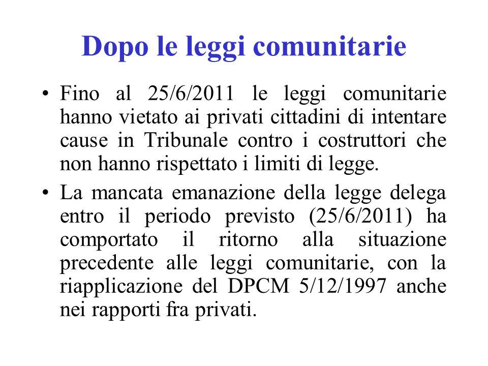 Dopo le leggi comunitarie Fino al 25/6/2011 le leggi comunitarie hanno vietato ai privati cittadini di intentare cause in Tribunale contro i costrutto