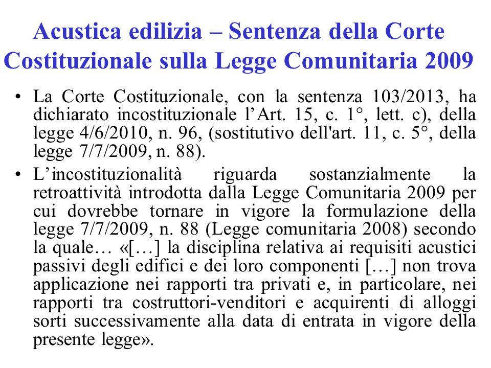 Acustica edilizia – Sentenza della Corte Costituzionale sulla Legge Comunitaria 2009 La Corte Costituzionale, con la sentenza 103/2013, ha dichiarato incostituzionale l'Art.