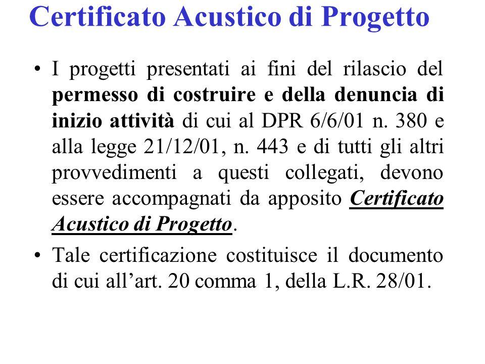 Certificato Acustico di Progetto I progetti presentati ai fini del rilascio del permesso di costruire e della denuncia di inizio attività di cui al DPR 6/6/01 n.