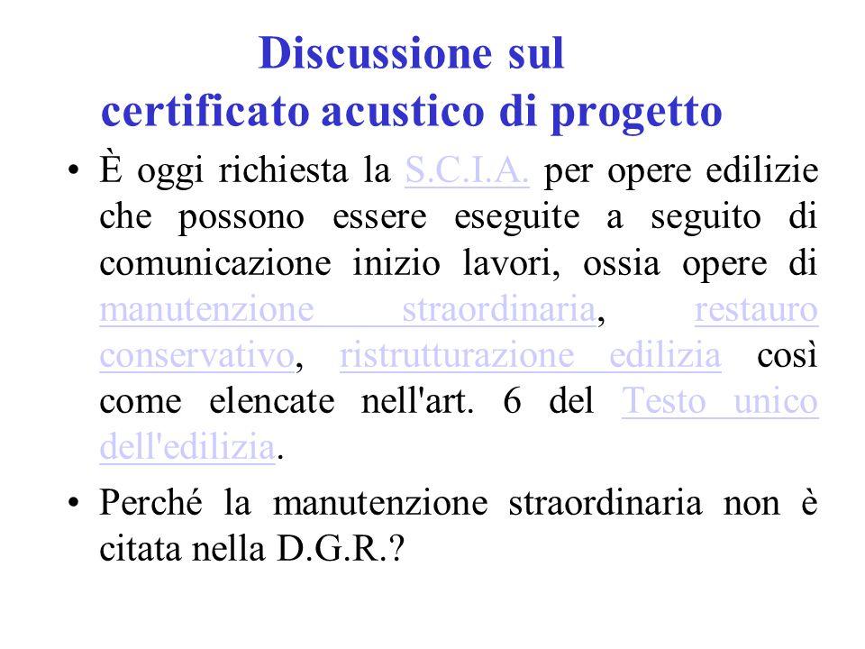 Discussione sul certificato acustico di progetto È oggi richiesta la S.C.I.A.