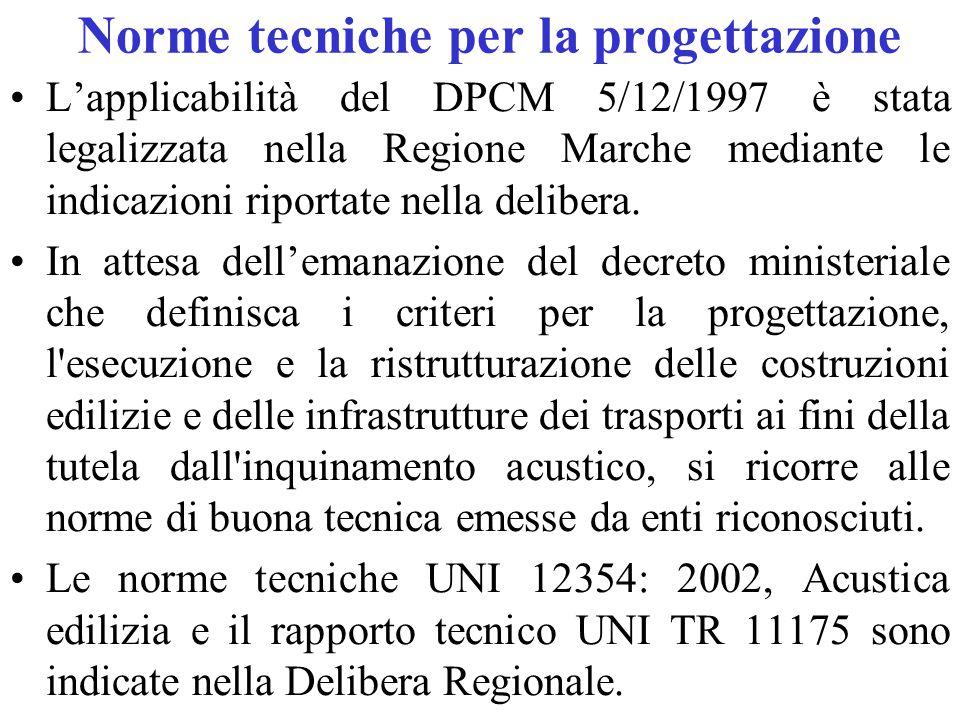 Norme tecniche per la progettazione L'applicabilità del DPCM 5/12/1997 è stata legalizzata nella Regione Marche mediante le indicazioni riportate nella delibera.