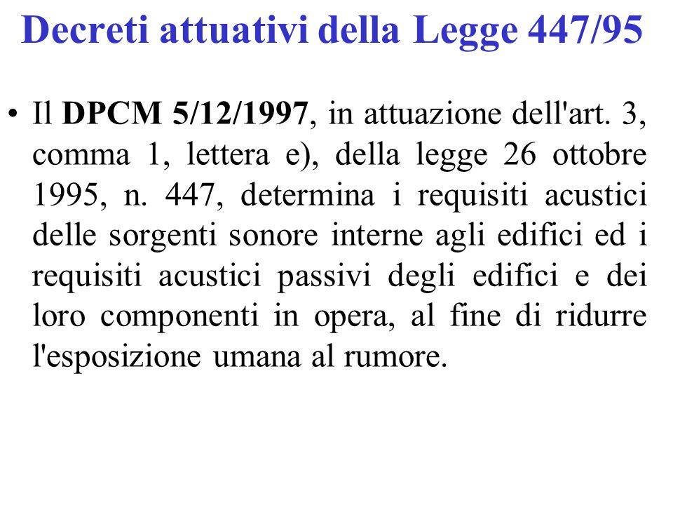 Decreti attuativi della Legge 447/95 Il DPCM 5/12/1997, in attuazione dell'art. 3, comma 1, lettera e), della legge 26 ottobre 1995, n. 447, determina
