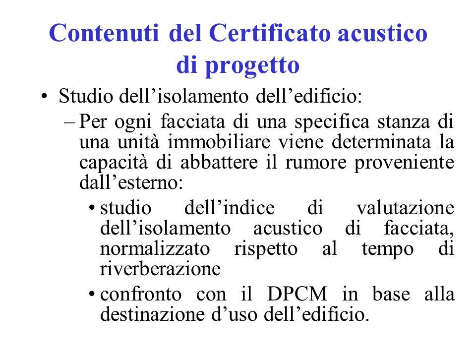 Contenuti del Certificato acustico di progetto Studio dell'isolamento dell'edificio: –Per ogni facciata di una specifica stanza di una unità immobilia
