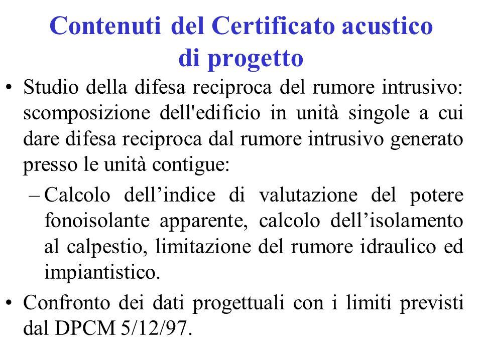 Contenuti del Certificato acustico di progetto Studio della difesa reciproca del rumore intrusivo: scomposizione dell'edificio in unità singole a cui