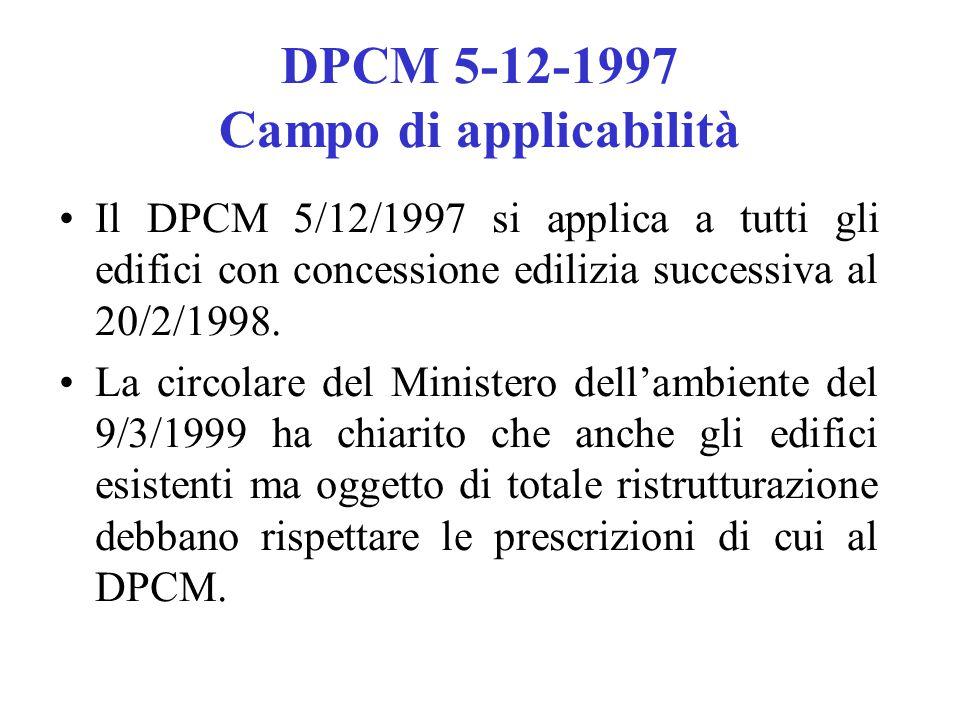 DPCM 5-12-1997 Campo di applicabilità Il DPCM 5/12/1997 si applica a tutti gli edifici con concessione edilizia successiva al 20/2/1998. La circolare