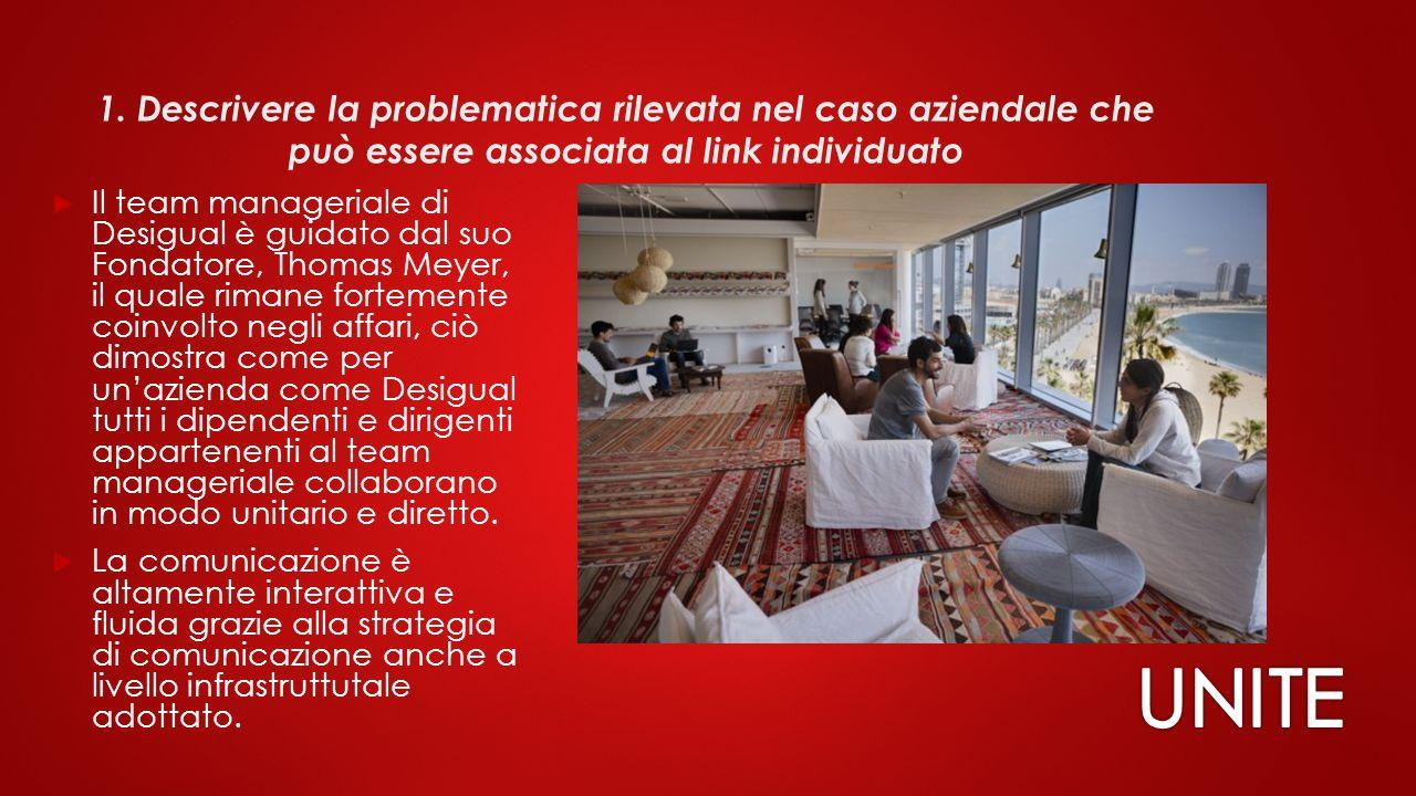 1. Descrivere la problematica rilevata nel caso aziendale che può essere associata al link individuato  Il team manageriale di Desigual è guidato dal