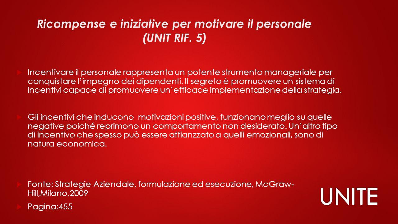 Ricompense e iniziative per motivare il personale (UNIT RIF.