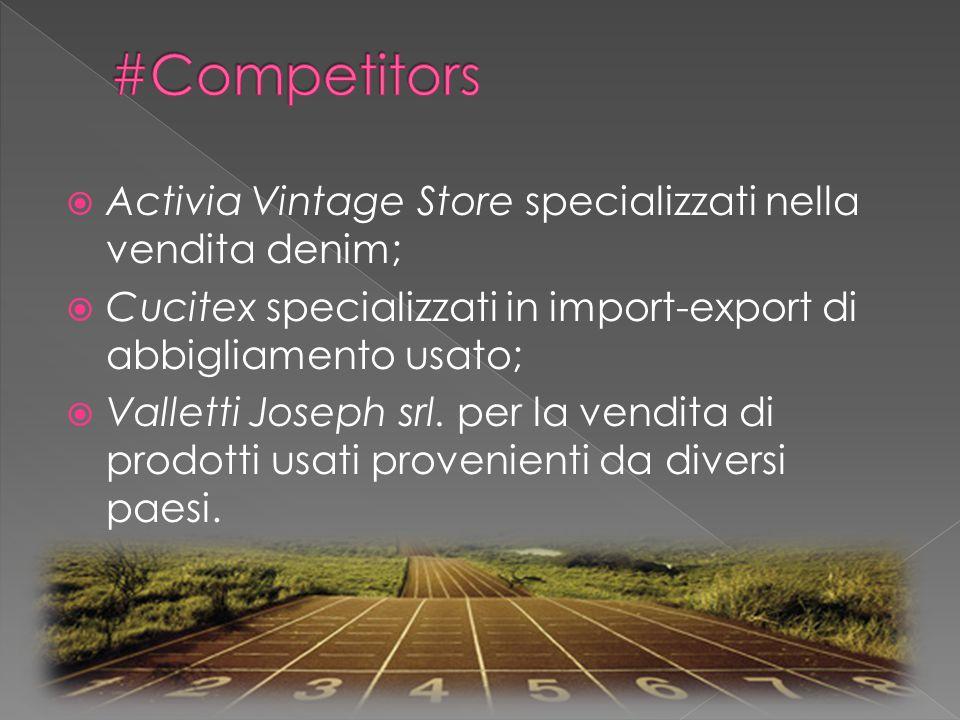  Activia Vintage Store specializzati nella vendita denim;  Cucitex specializzati in import-export di abbigliamento usato;  Valletti Joseph srl.