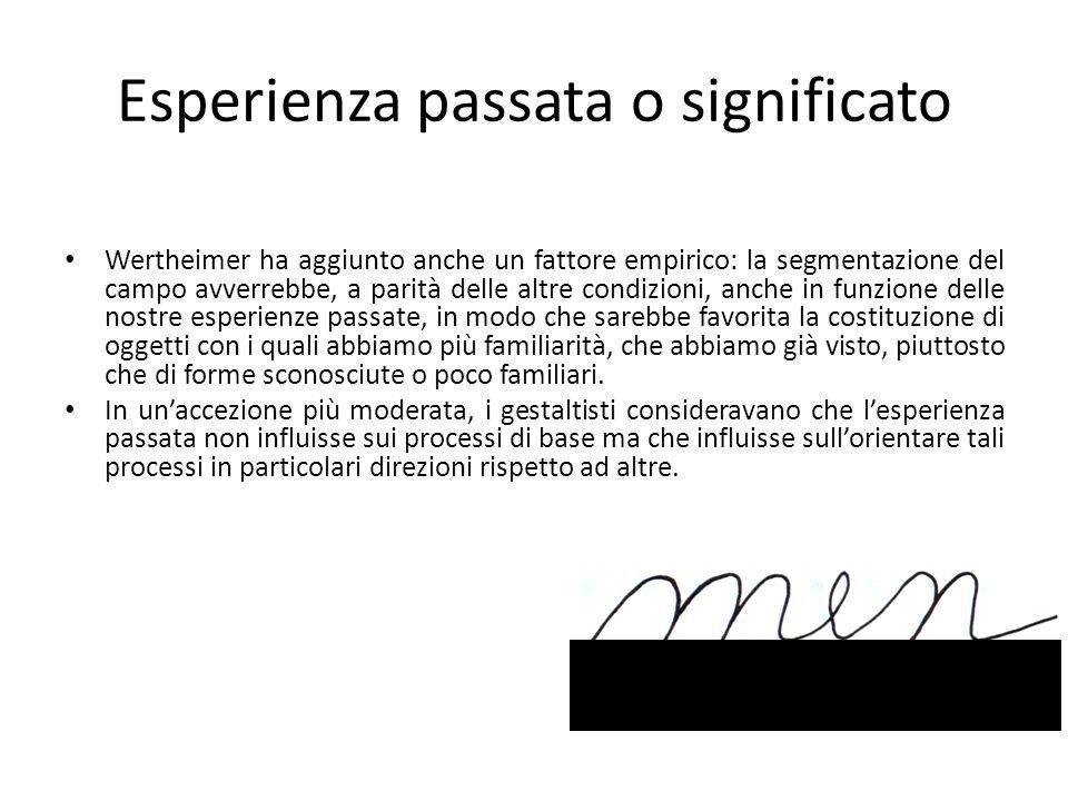 Esperienza passata o significato Wertheimer ha aggiunto anche un fattore empirico: la segmentazione del campo avverrebbe, a parità delle altre condizi