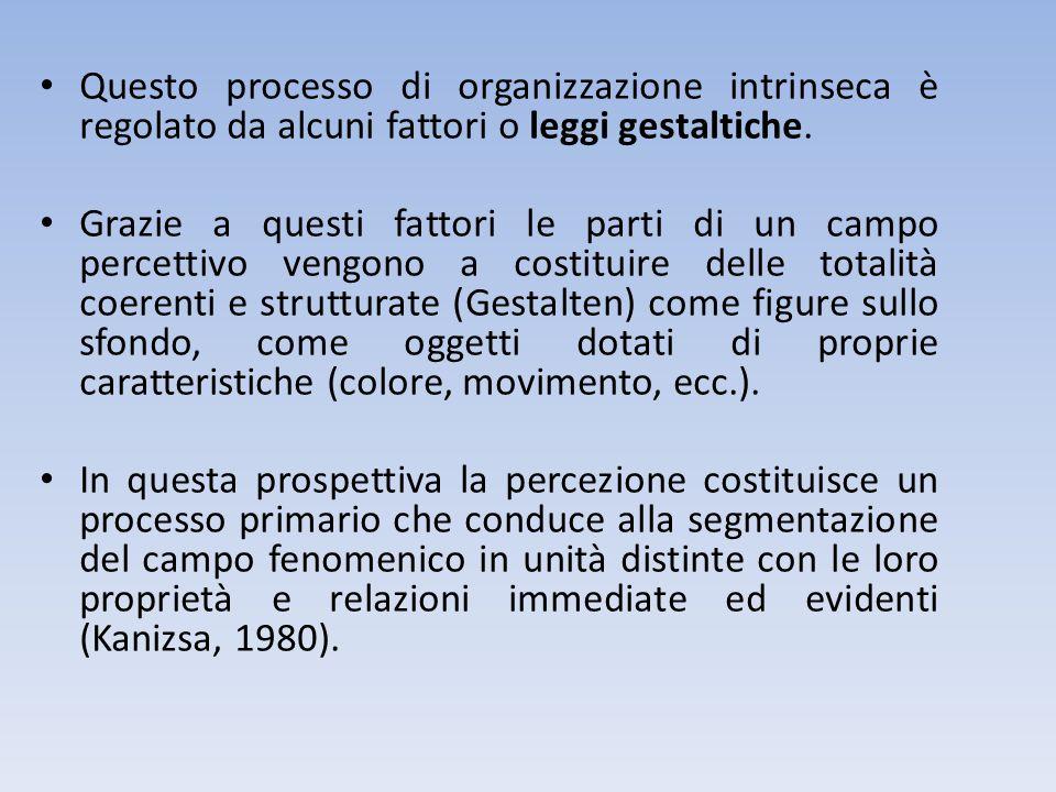 Questo processo di organizzazione intrinseca è regolato da alcuni fattori o leggi gestaltiche. Grazie a questi fattori le parti di un campo percettivo