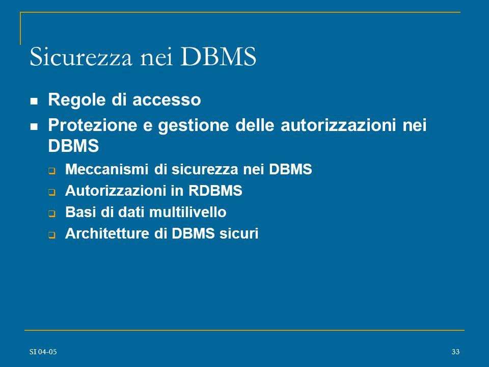 SI 04-0532 Progetto di DBMS sicuri Meccanismi di sicurezza nei DBMS: requisiti  diverse granularità  diversi modi di accesso e tipologie di controllo (covert channels, controlli di inferenza, controlli di flusso)  polinstanziazione in MAC  autorizzazione dinamica  uniformità dei meccanismi  assenza di back doors  prestazioni ragionevoli