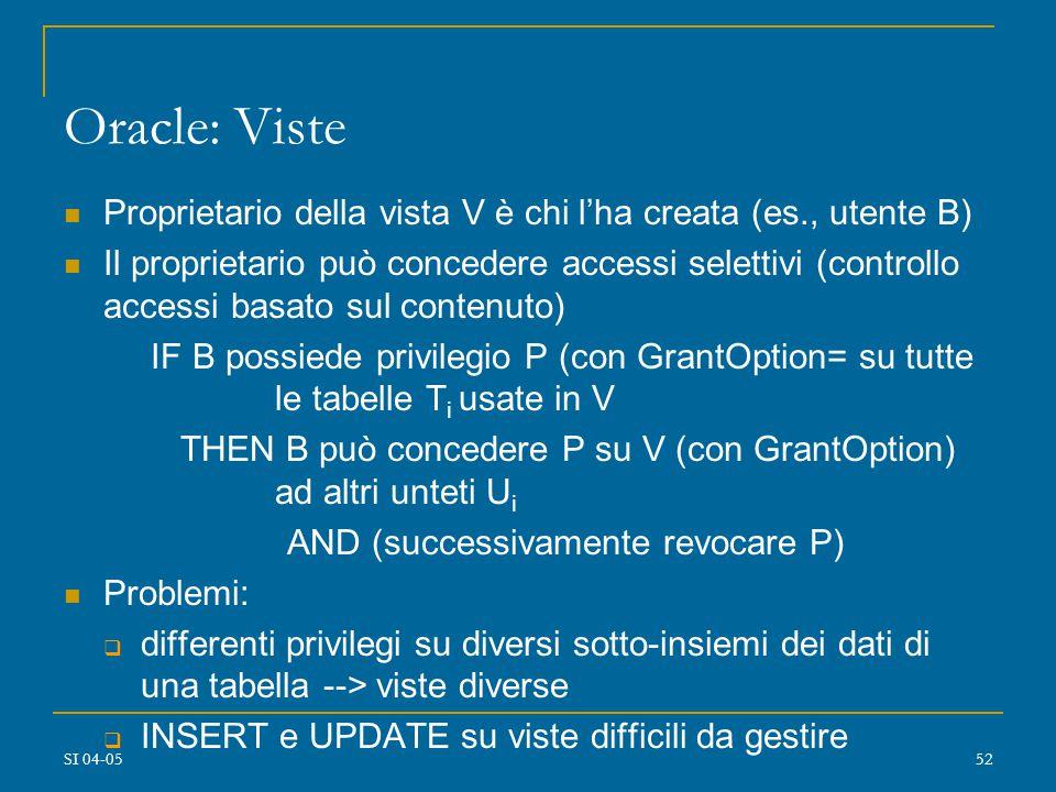 SI 04-0551 Autorizzazioni dinamiche: problema della revoca Ogni utente che possiede un privilegio P con GO su tabella T può revocare P Un utente autorizzato può revocare solo le autorizzazioni a lui concesse ------> problema: autorizzazioni concesse con GO richiedono REVOCA RICORSIVA (cascading) Revoca di P su T all'utente Y da parte dell'utente X ---------------> è come se tutte le autorizzazioni per P su T concesse da X a Y non fossero mai state concesse Uso di timestamp associati alle autorizzazioni revocate