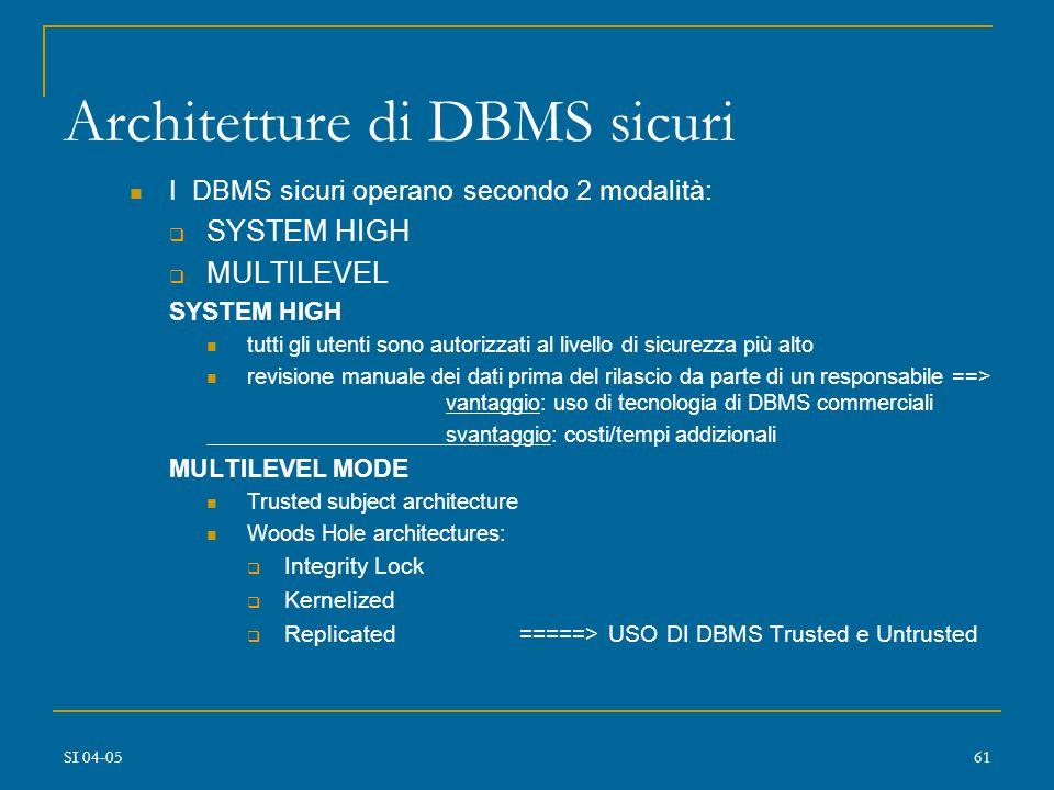 SI 04-0560 Architetture di DBMS Sicuri