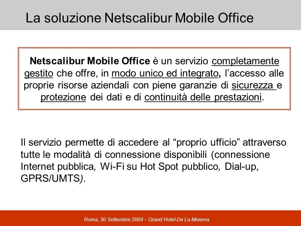 Roma, 30 Settembre 2004 – Grand Hotel De La Minerva La soluzione Netscalibur Mobile Office Il servizio permette di accedere al proprio ufficio attraverso tutte le modalità di connessione disponibili (connessione Internet pubblica, Wi-Fi su Hot Spot pubblico, Dial-up, GPRS/UMTS).