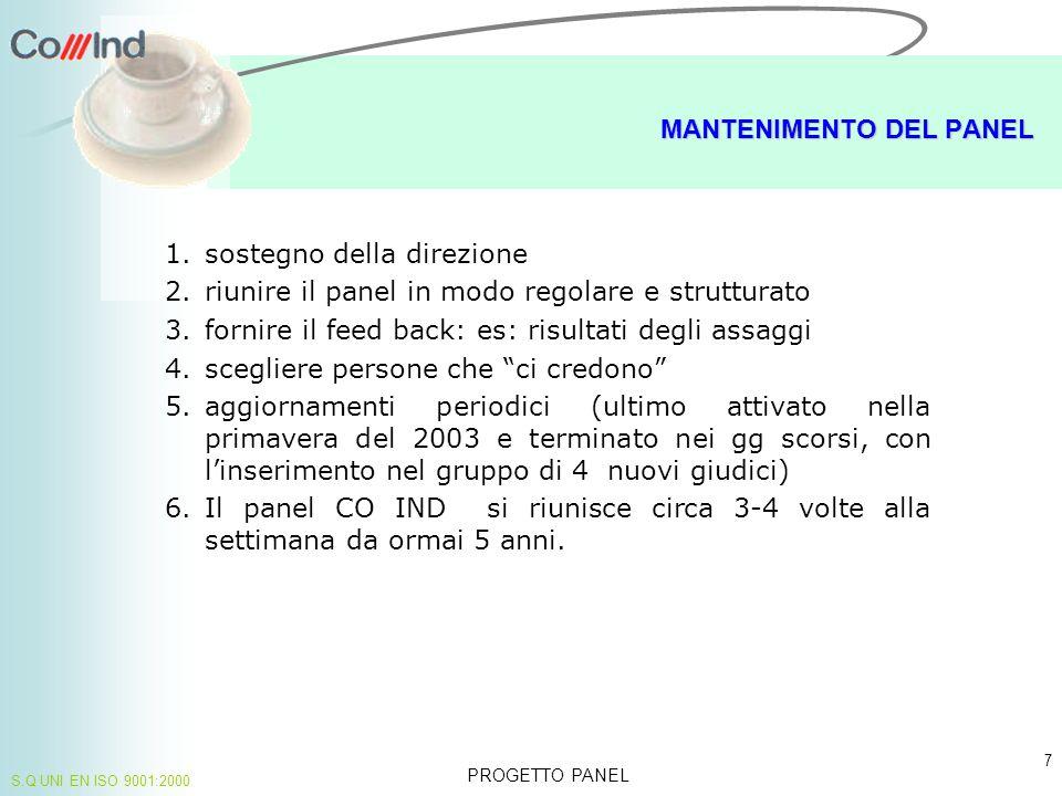 MANTENIMENTO DEL PANEL PROGETTO PANEL 7 S.Q UNI EN ISO 9001:2000 1.sostegno della direzione 2.riunire il panel in modo regolare e strutturato 3.fornir