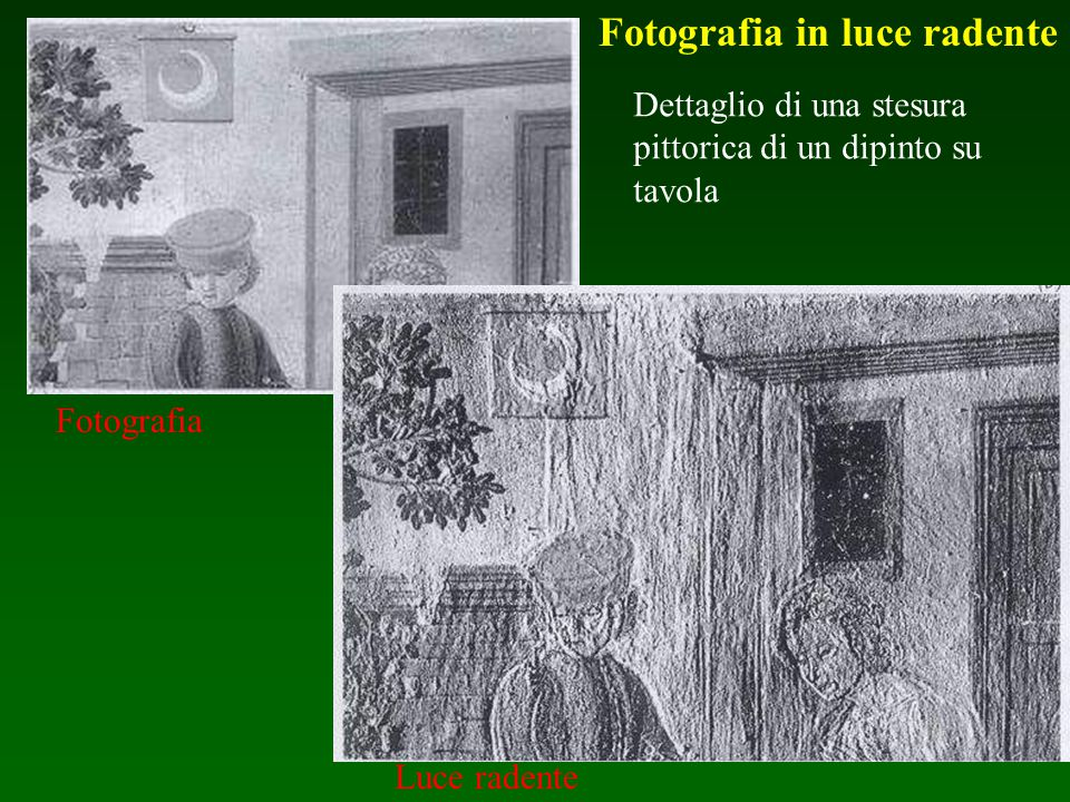 Dettaglio di una stesura pittorica di un dipinto su tavola Fotografia Luce radente Fotografia in luce radente