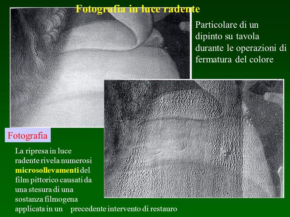 Fotografia Particolare di un dipinto su tavola durante le operazioni di fermatura del colore La ripresa in luce radente rivela numerosi microsollevame
