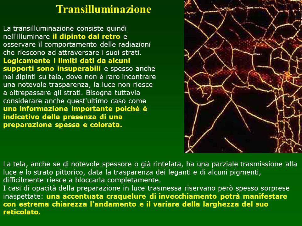 La transilluminazione consiste quindi nell'illuminare il dipinto dal retro e osservare il comportamento delle radiazioni che riescono ad attraversare