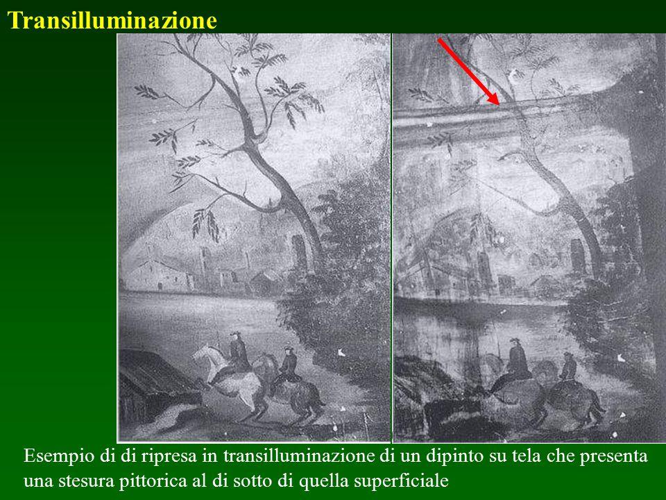 Esempio di di ripresa in transilluminazione di un dipinto su tela che presenta una stesura pittorica al di sotto di quella superficiale Transilluminaz