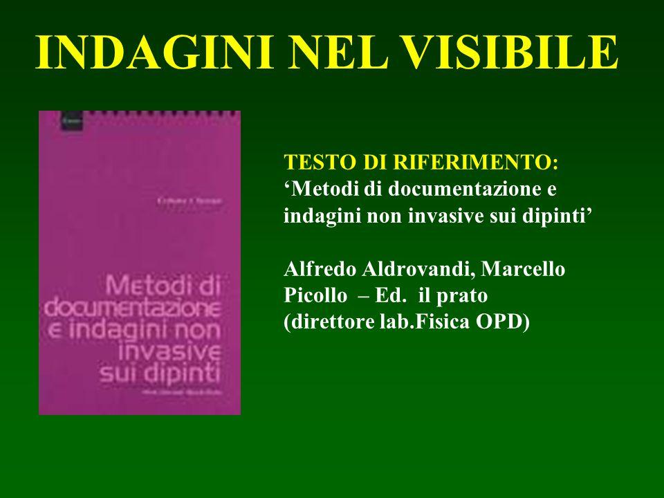TESTO DI RIFERIMENTO: 'Metodi di documentazione e indagini non invasive sui dipinti' Alfredo Aldrovandi, Marcello Picollo – Ed. il prato (direttore la