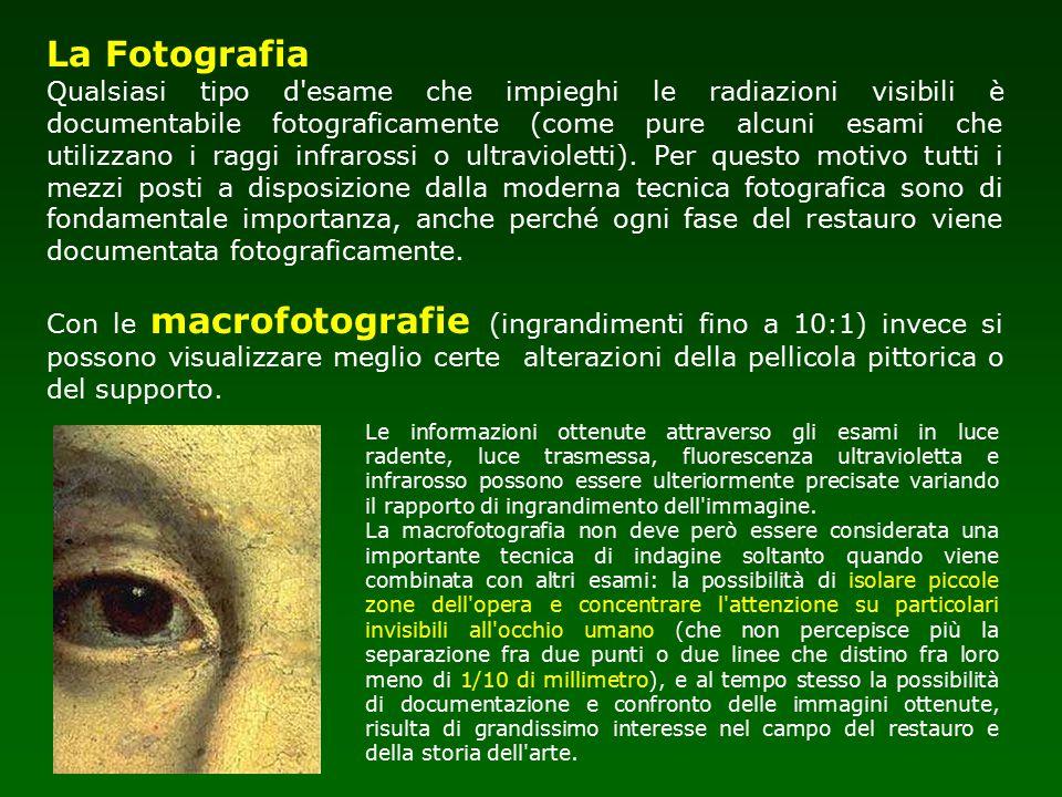 La Fotografia Qualsiasi tipo d'esame che impieghi le radiazioni visibili è documentabile fotograficamente (come pure alcuni esami che utilizzano i rag