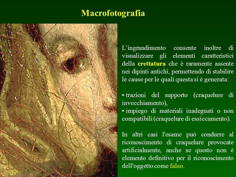 Macrofotografia L'ingrandimento consente inoltre di visualizzare gli elementi caratteristici della crettatura che è raramente assente nei dipinti anti