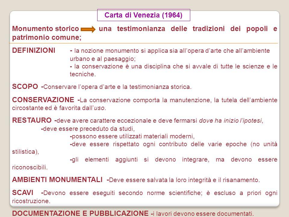 Carta di Venezia (1964) Monumento storico una testimonianza delle tradizioni dei popoli e patrimonio comune; DEFINIZIONI- la nozione monumento si appl