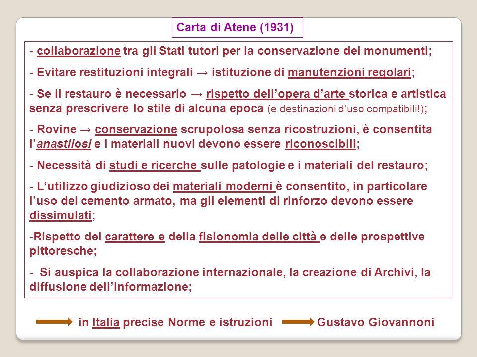 Carta del restauro italiana (1931) - promossa da Gustavo Giovannoni, - riprende le raccomandazioni della Carta d'Atene, - costituisce il riferimento per le leggi del 1939: Legge 1 giugno 1939 n.