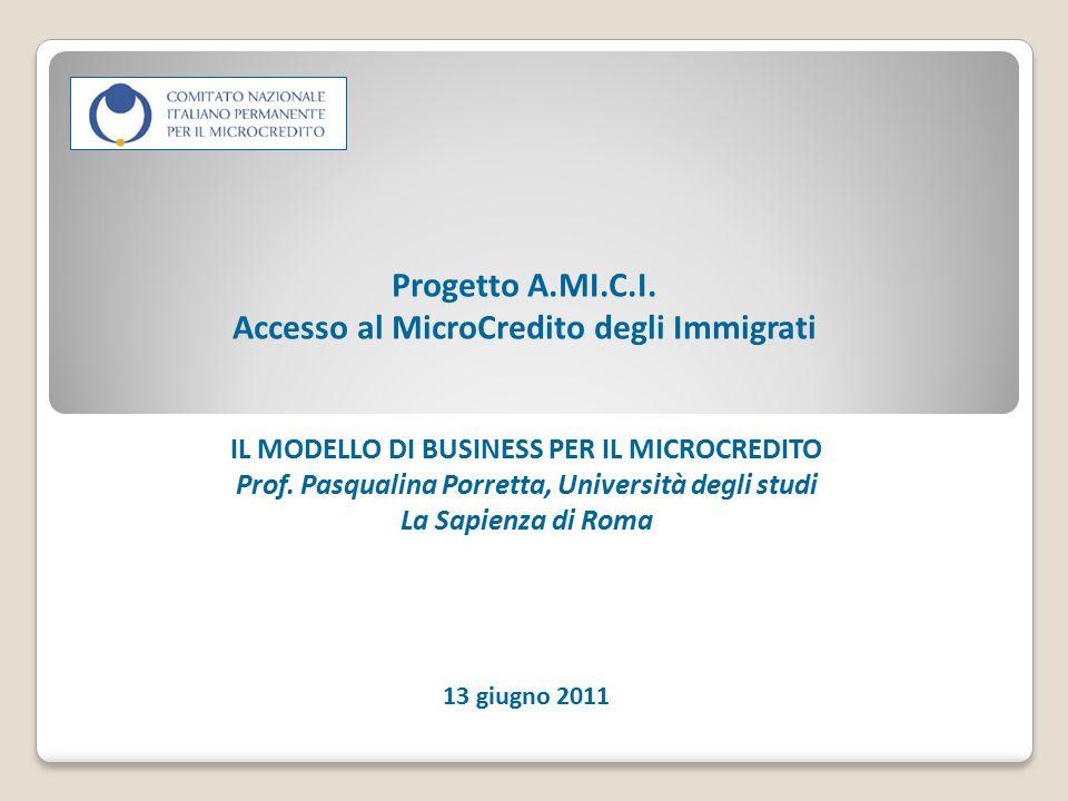 Progetto A.MI.C.I. Accesso al MicroCredito degli Immigrati IL MODELLO DI BUSINESS PER IL MICROCREDITO Prof. Pasqualina Porretta, Università degli stud