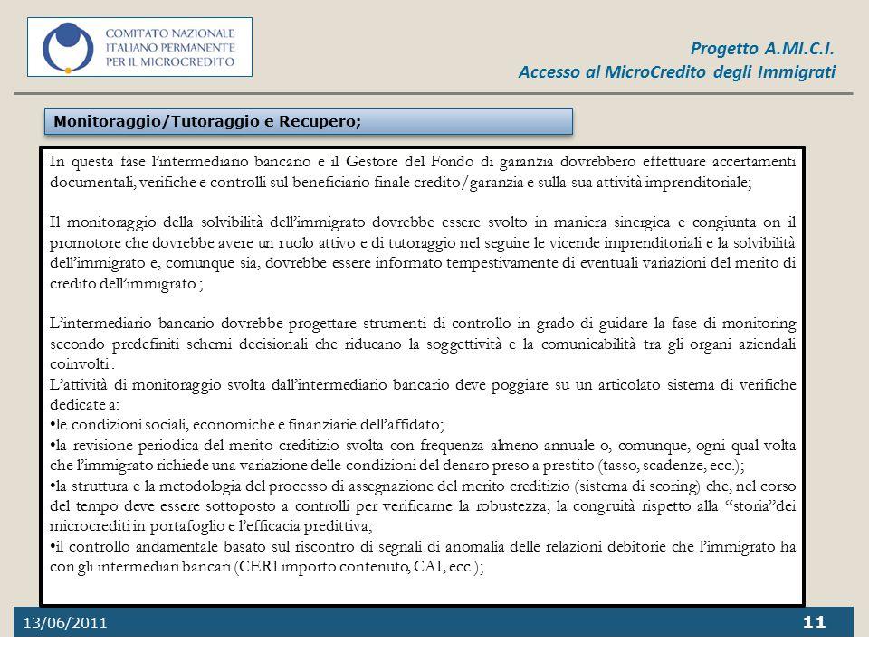 13/06/2011 11 Progetto A.MI.C.I. Accesso al MicroCredito degli Immigrati In questa fase l'intermediario bancario e il Gestore del Fondo di garanzia do