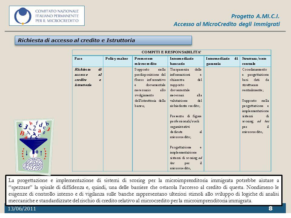 13/06/2011 8 Progetto A.MI.C.I. Accesso al MicroCredito degli Immigrati Richiesta di accesso al credito e Istruttoria La progettazione e implementazio