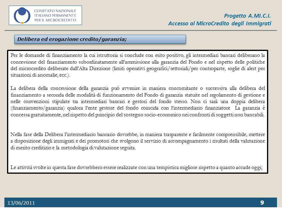 13/06/2011 9 Progetto A.MI.C.I. Accesso al MicroCredito degli Immigrati Delibera ed erogazione credito/garanzia; Per le domande di finanziamento la cu