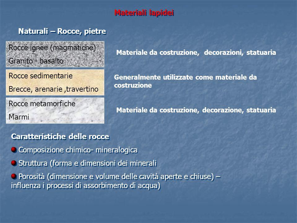Materiali lapidei Naturali – Rocce, pietre Rocce ignee (magmatiche) Granito - basalto Materiale da costruzione, decorazioni, statuaria Rocce sedimenta