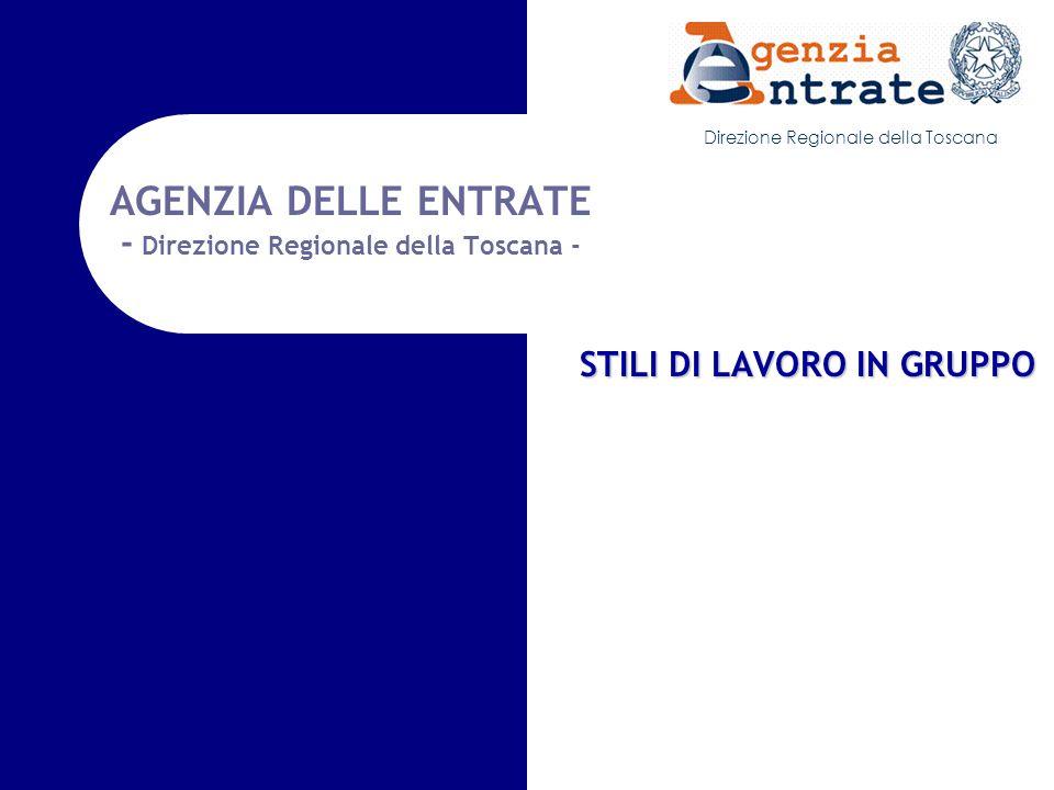 Direzione Regionale della Toscana AGENZIA DELLE ENTRATE - Direzione Regionale della Toscana - STILI DI LAVORO IN GRUPPO