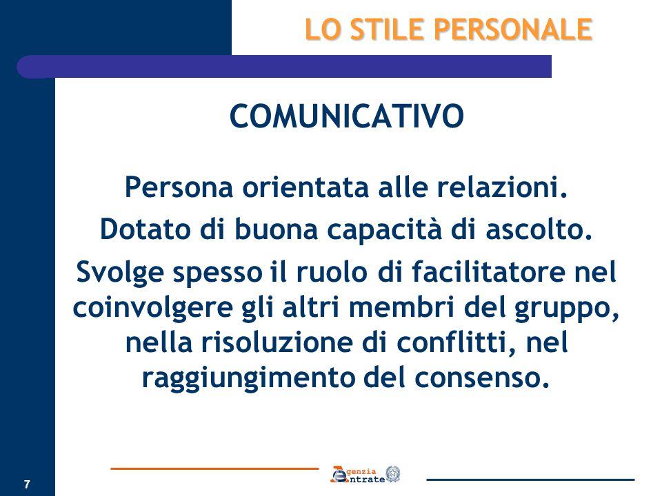 7 COMUNICATIVO Persona orientata alle relazioni. Dotato di buona capacità di ascolto. Svolge spesso il ruolo di facilitatore nel coinvolgere gli altri