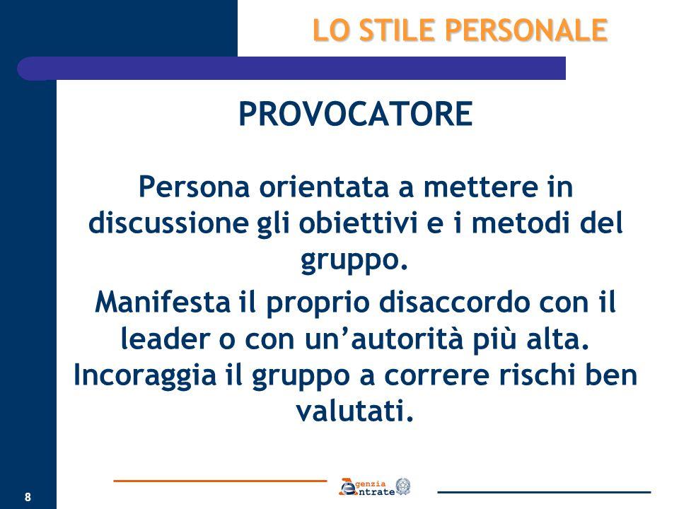8 PROVOCATORE Persona orientata a mettere in discussione gli obiettivi e i metodi del gruppo. Manifesta il proprio disaccordo con il leader o con un'a