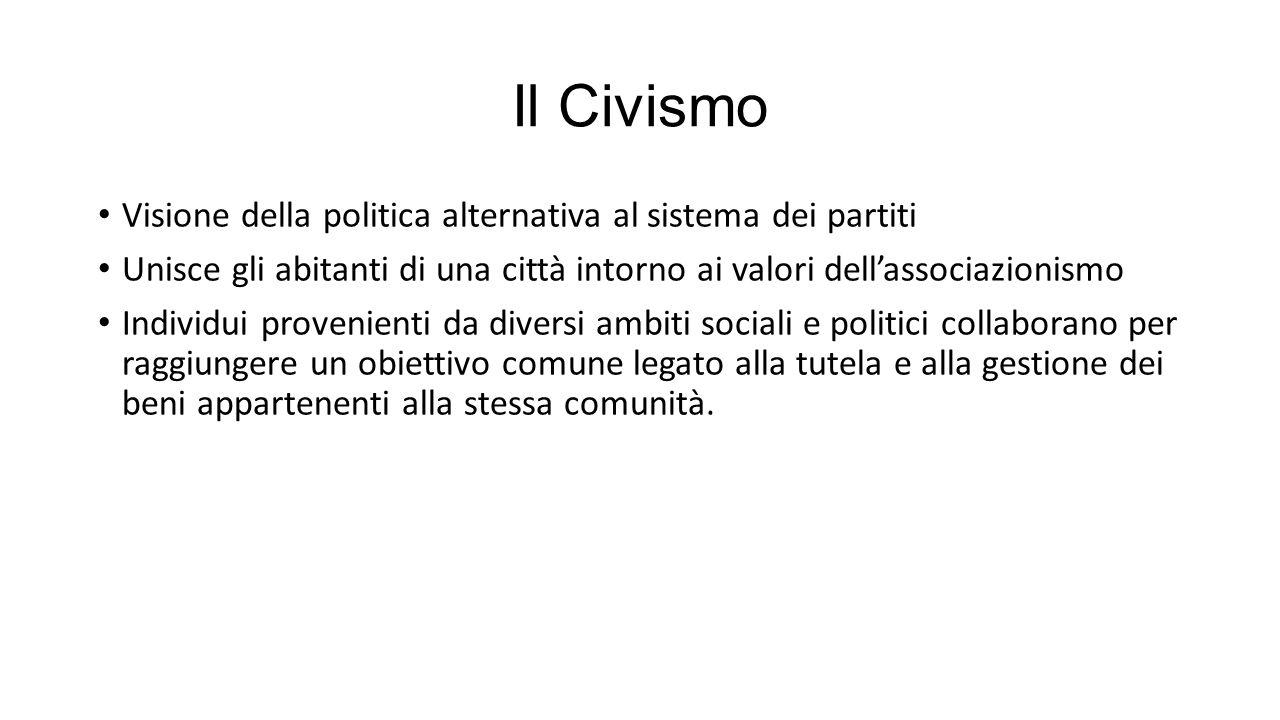 Il Civismo Visione della politica alternativa al sistema dei partiti Unisce gli abitanti di una città intorno ai valori dell'associazionismo Individui