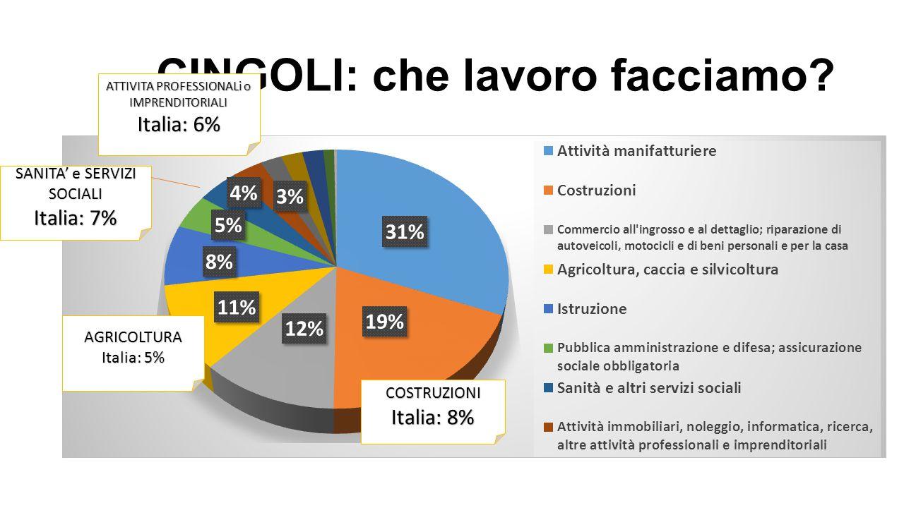 CINGOLI: che lavoro facciamo? COSTRUZIONI Italia: 8% SANITA' e SERVIZI SOCIALI Italia: 7% ATTIVITA PROFESSIONALi o IMPRENDITORIALI Italia: 6%