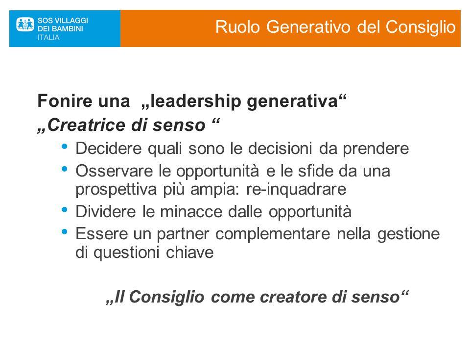"""Ruolo Generativo del Consiglio Fonire una """"leadership generativa """"Creatrice di senso Decidere quali sono le decisioni da prendere Osservare le opportunità e le sfide da una prospettiva più ampia: re-inquadrare Dividere le minacce dalle opportunità Essere un partner complementare nella gestione di questioni chiave """"Il Consiglio come creatore di senso"""