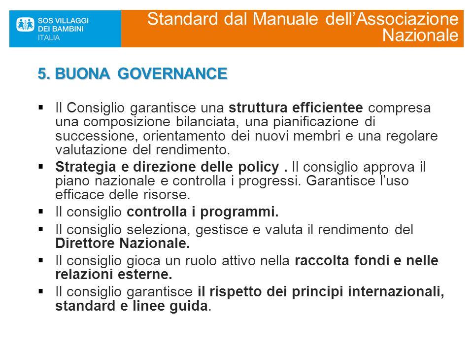 5. BUONA GOVERNANCE  Il Consiglio garantisce una struttura efficientee compresa una composizione bilanciata, una pianificazione di successione, orien
