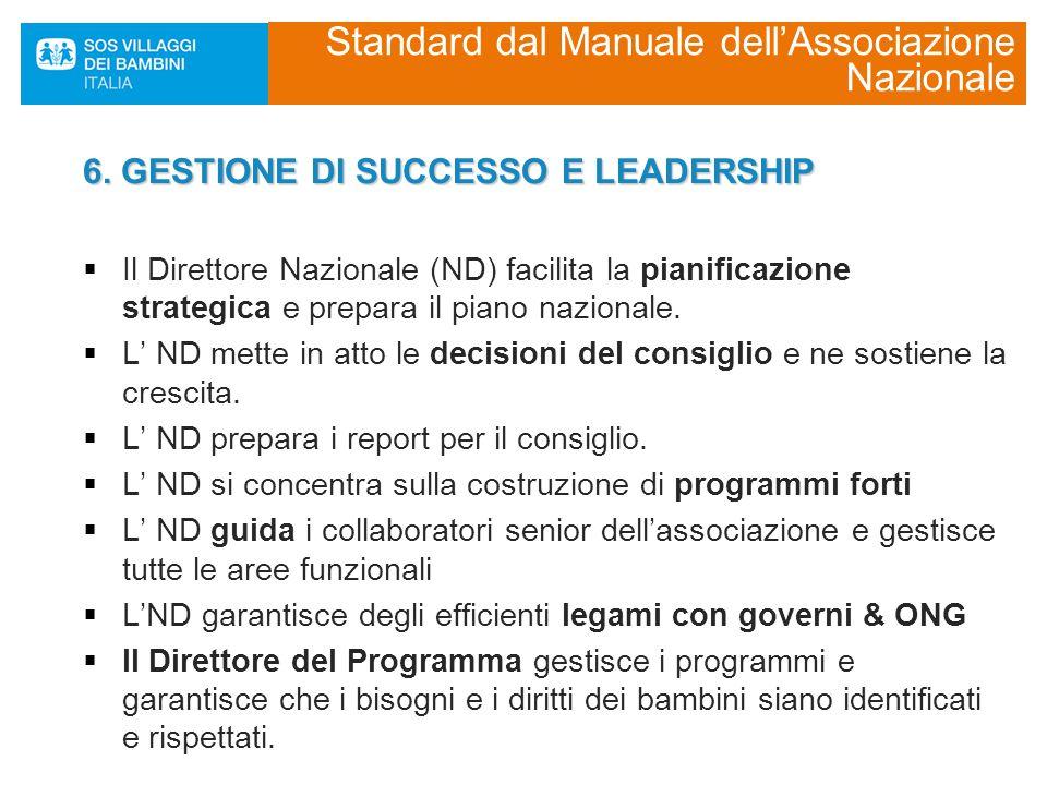 6. GESTIONE DI SUCCESSO E LEADERSHIP  Il Direttore Nazionale (ND) facilita la pianificazione strategica e prepara il piano nazionale.  L' ND mette i