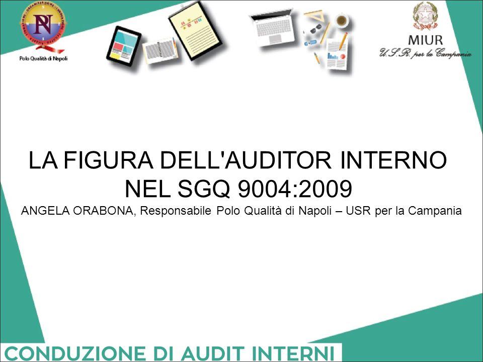 LA FIGURA DELL'AUDITOR INTERNO NEL SGQ 9004:2009 ANGELA ORABONA, Responsabile Polo Qualità di Napoli – USR per la Campania