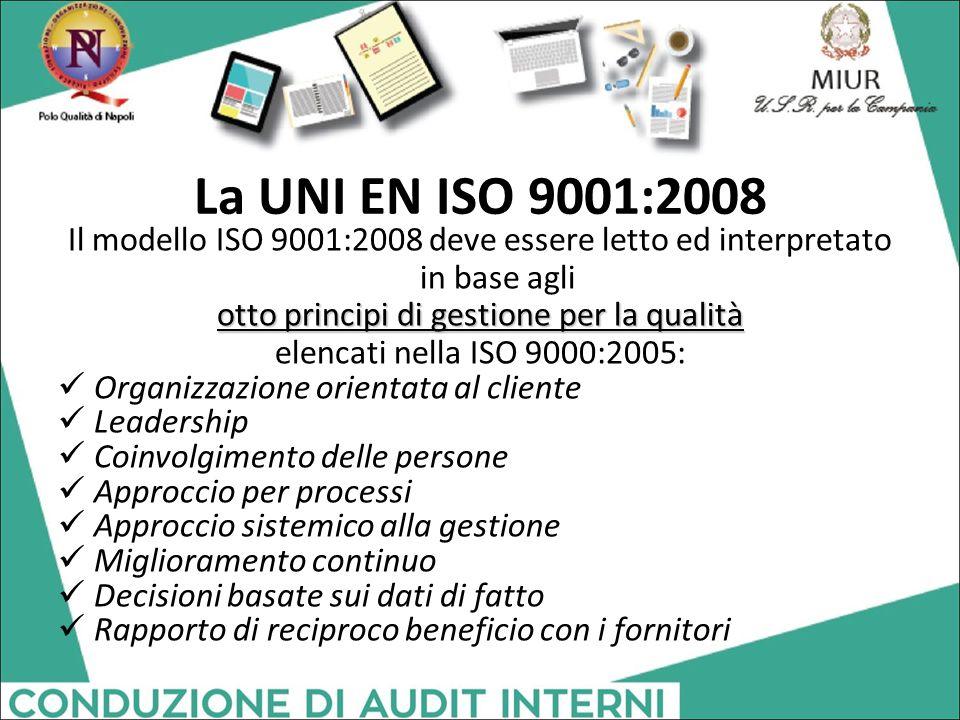 La UNI EN ISO 9001:2008 Il modello ISO 9001:2008 deve essere letto ed interpretato in base agli otto principi di gestione per la qualità elencati nell
