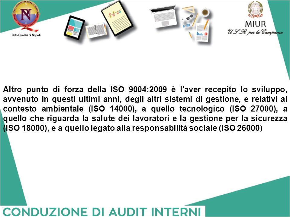 Altro punto di forza della ISO 9004:2009 è l'aver recepito lo sviluppo, avvenuto in questi ultimi anni, degli altri sistemi di gestione, e relativi al